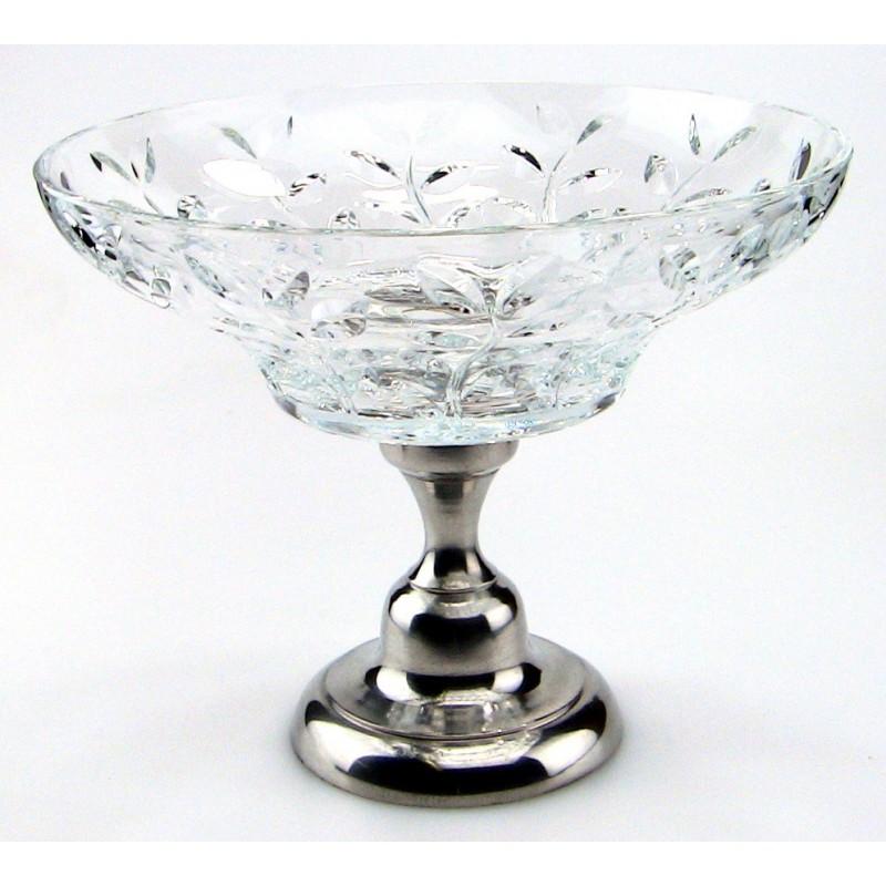 Coupe à fruit en cristal et étain