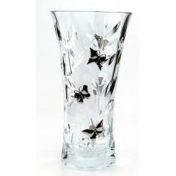 Vase en cristallin et étain décor papillons