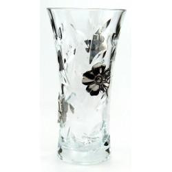 Vase en cristallin et étain décor fleurs