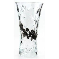 Vase en cristallin et étain décor petites roses
