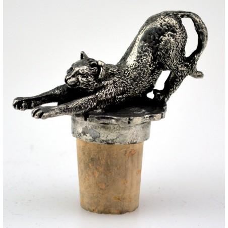 Bouchon chat qui s'étire en étain