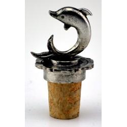 Bouchon dauphin stylisé en étain