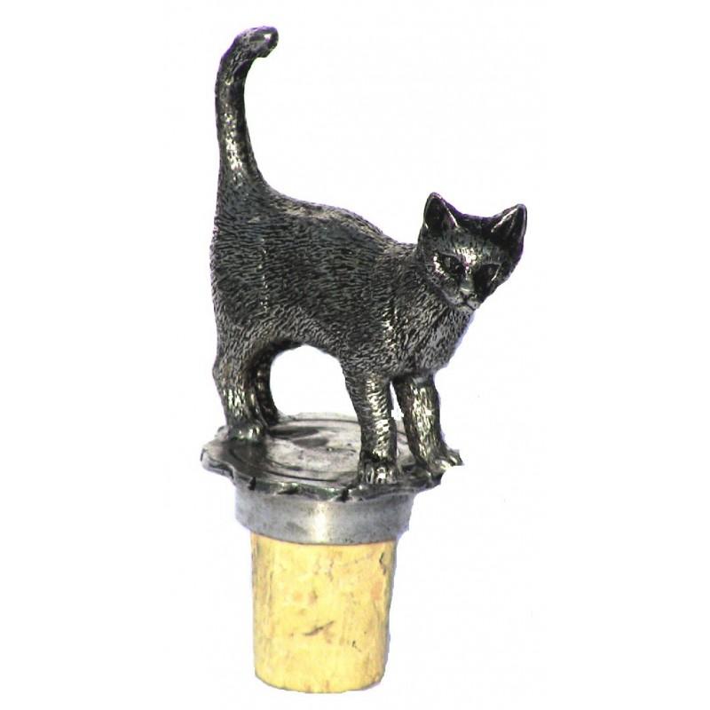 Bouchon chat debout en étain