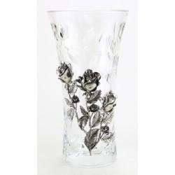 Vase en cristallin et étain décor roses