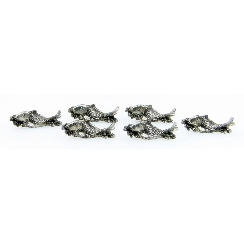 Série de 6 porte couteaux poisson en étain
