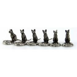 Série de 6 porte couteaux chat en étain