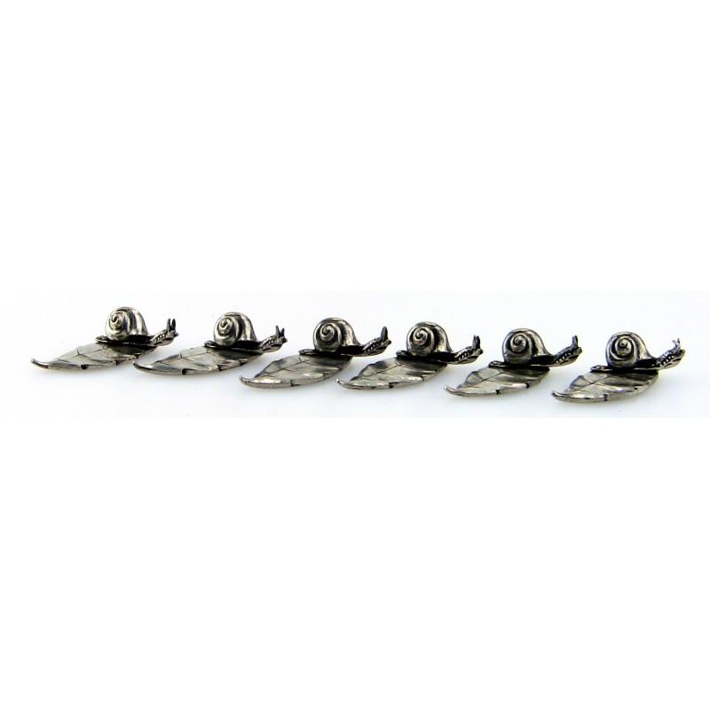 Série de 6 porte couteaux escargot en étain