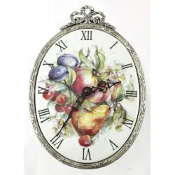 Horloge ovale décor fruits