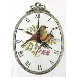 Horloge ovale décor oiseaux