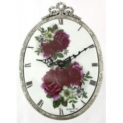 Horloge ovale décor rose poupre