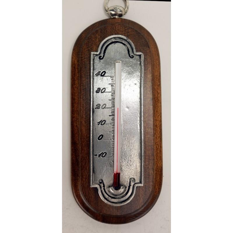 Thermomètre en étain avec applique