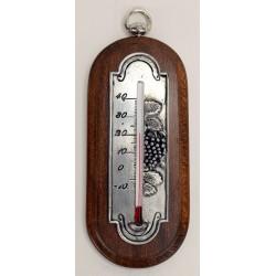 Thermomètre raisin en étain avec applique