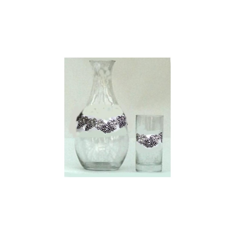Carafe + 6 verres avec étain