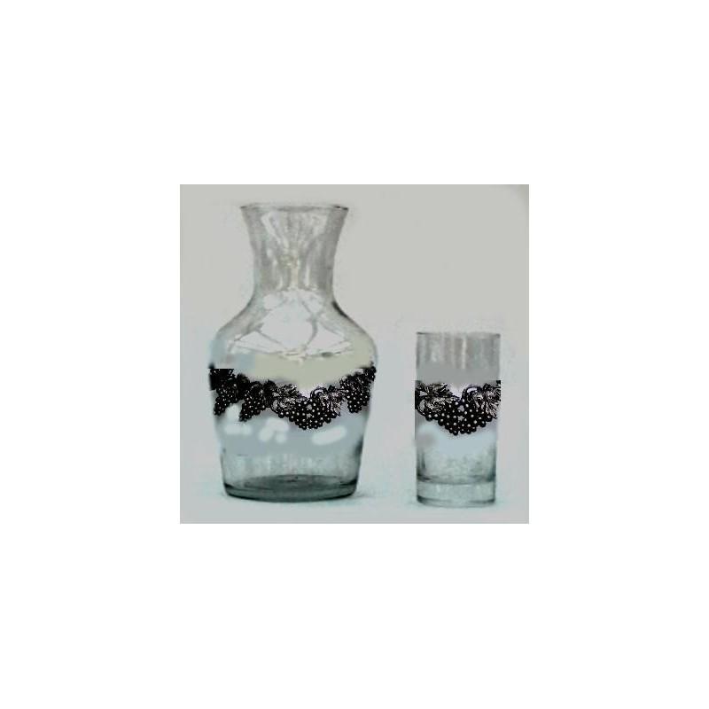 Carafe service + 6 verres avec étain