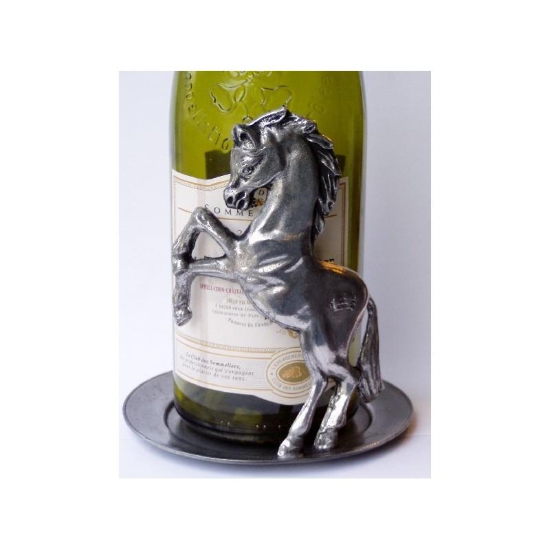 Dessous de bouteille 1 cheval en étain