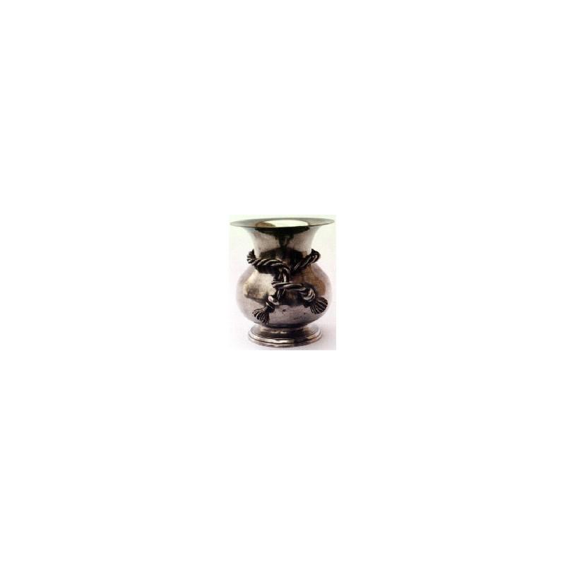 Vase décor noeud grand modèle en étain