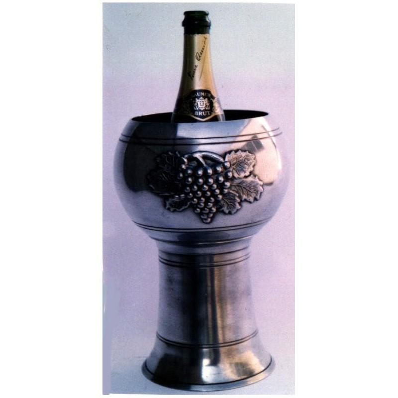 Seau à champagne décor raisin en étain
