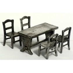 Miniature table + 4 chaises en étain