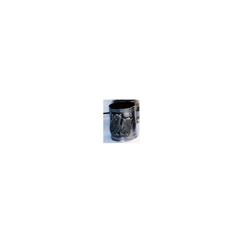 Pot à crayon décor chouette en étain