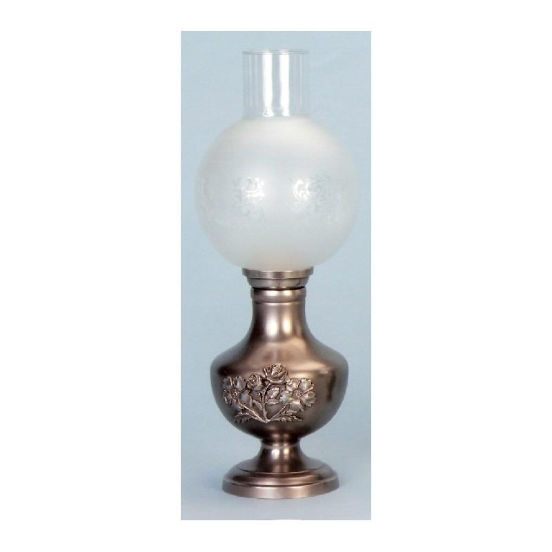 Lampe électrique fleurs en étain