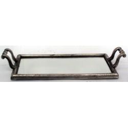 Plateau rectangulaire fond miroir en étain