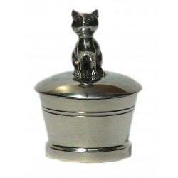 Boite à dents en étain décor chat